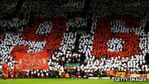 Liverpool fans in the Kop show their respect to the 96 people killed in the Hillsborough disaster