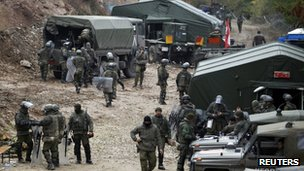 NATO Kosovo Force soldiers from Germany at their base