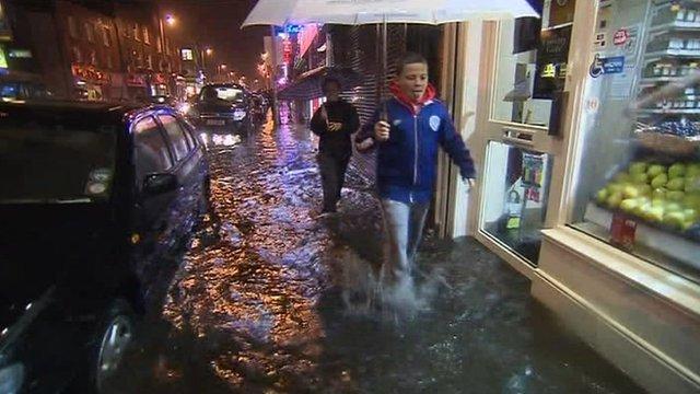 Dubliners knee deep in flood water