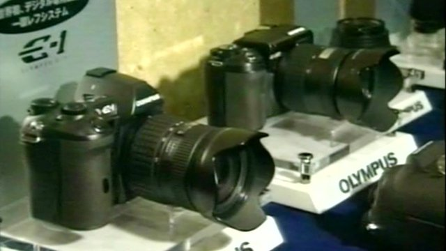 Olympus cameras on display