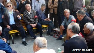 Chinese elderly at a park