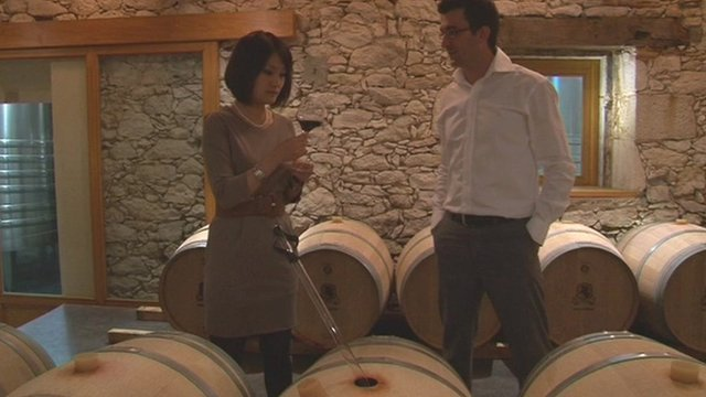 Wine tasters at a French vineyard