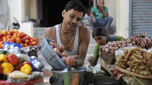 A vendor selling vegetable in India