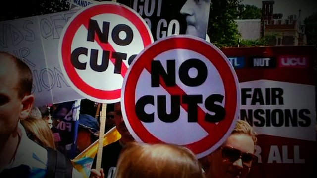 Protesters demonstrating against budget cuts and pension changes