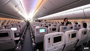 Cabin of Boeing 787 Dreamliner