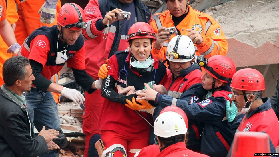 Rescue workers carry Azra Karaduman, a two-week-old baby, who was pulled from the debris of the earthquake on 25 October 2011 in Ercis.
