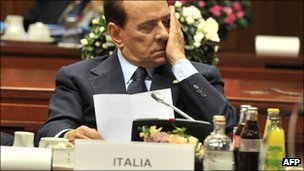 Italian Prime Minister Silvio Berlusconi during a meeting in Brussels (23 Oct)