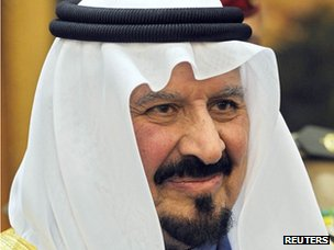 Saudi Arabia's Crown Prince Sultan Bin Abdulaziz Al-Saud in Riyadh in January 2008