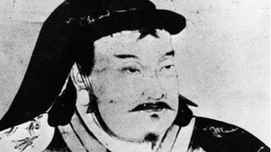 A representation of Kublai Khan, the Mongol ruler, circa 1260