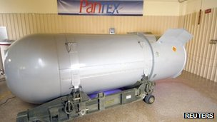 Handout photo of a B53 nuclear bomb on 19 October 2011