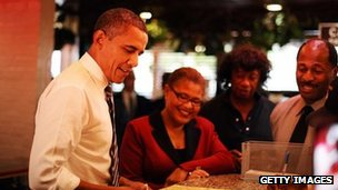 US president Barack Obama at Roscoe's Chicken and Waffles in Los Angeles, California on 24 October 2011