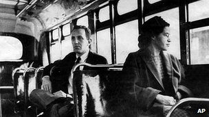 Rosa Parks on an Alabama bus