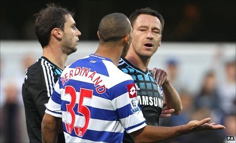 Branislav Ivanovic, Anton Ferdinand and John Terry in Sunday's match