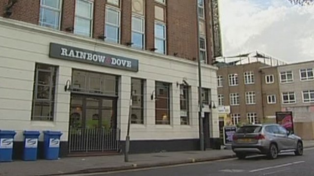 The men were injured at the Rainbow and Dove pub in Leicester