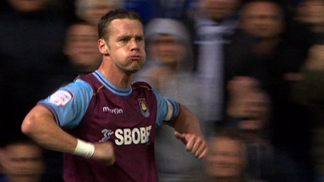 Kevin Nolan celebrates West Ham's winner