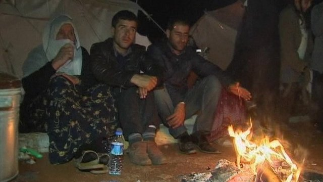 Survivors of the earthquake in relief camp