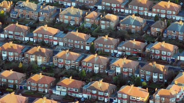 Aerial shots of red brick houses