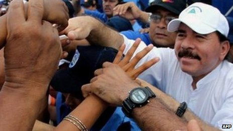 Nicaraguan President Daniel Ortega on the campaign trail