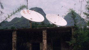 Satellite dishes on a building