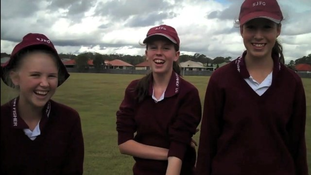 Sharing a joke: Students from St John Fisher in Australia on the weather