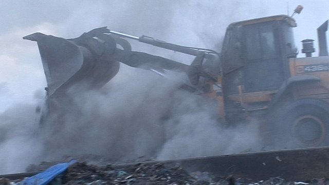 Waste recycling plant fire