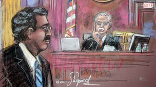 Court sketch of Raj Rajaratnam and Judge Richard Holwell on 13 October 2011