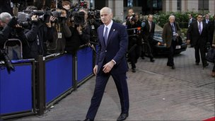 Greek Prime Minister George Papandreou arrives at the European Union summit in Brussels, 26 October 2011