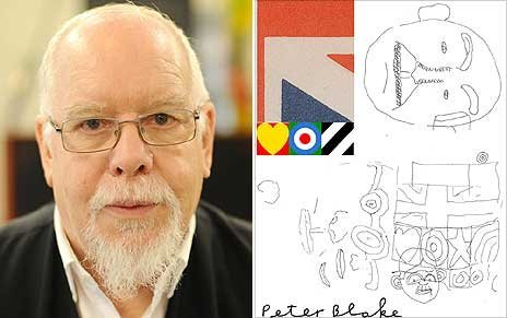 Sir Peter Blake with sketch for the Brit Award