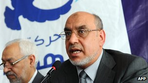 Ennahda Secretary-general Hamadi Jebali (R) with party leader Rachid Ghannouchi (L) - 19 October 2011