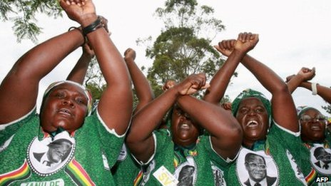 Supporters of Robert Mugabe photographed in 2010