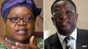 Joice Mujuru (L) and Emmerson Mnangagwa (R)