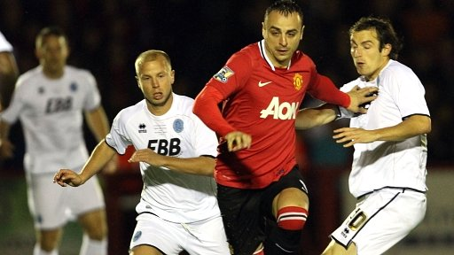 Dimitar Berbatov celebrates goal at Aldershot