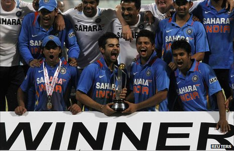 India celebrate winning the ODI series