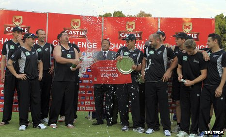 New Zealand celebrate winning the ODI series