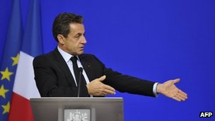 French President Nicolas Sarkozy at end of eurozone summit - 27 October 2011