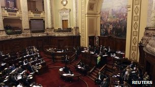 Uruguay's Chamber of Deputies during the debate on 27 October