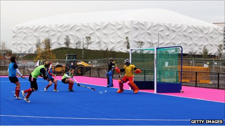 The GB women&#039;s team try out the new surface at the Hockey Centre