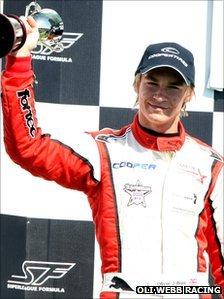 Oli Webb on the Formula 3 podium
