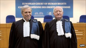 President of the European Court of Human Rights, Nicolas Bratza (left) with his predecessor Jean Paul-Costa
