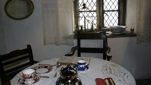 Inside one of the almshouses