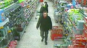 Vincent Tabak seen on CCTV at Asda supermarket in Bedminster, Bristol