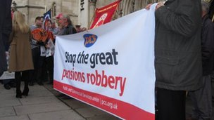 Trade union members protest outside a High Court hearing over the use of CPI to uprate pensions instead of RPI