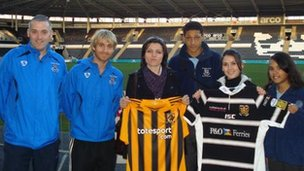 Visiting students from Ali Hadri school pose with their UK counterparts and their new Hull AFC shirts