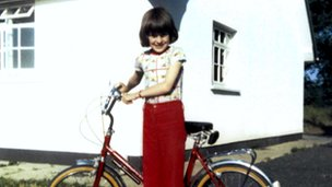 Jennifer Cardy with her bicycle