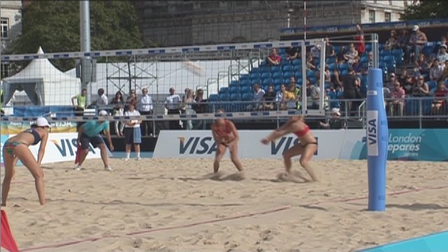 Beach volleyball test event at Horse Guards Parade