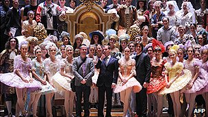 President Medvedev and company of Bolshoi at theatre