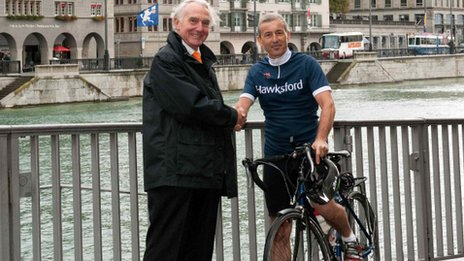 Peter Jackson meeting Tim Urquhart from Hawksford's Zurich office