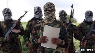 Al-Shabab's military spokesman Sheik Abdul Asis Abu Muscab - photographed in October 2011