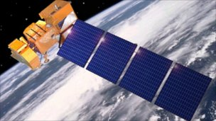 The Landsat-7 satellite in orbit