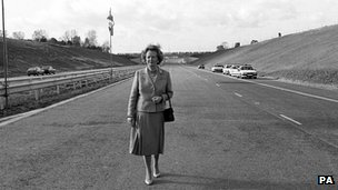 Margaret Thatcher opening the M25